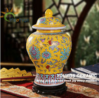 Hand Painted Porcelain Chinese Famille Rose Yellow Antique Ginger Jars