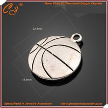 Chinese Famous Designer Logo Engraving Avialbale with Siler or Broonze Color Plated DIY JEWELRY Basketball Shaped Charm