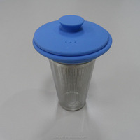 Eco-friendly Teaware Loose Leaf Tea Strainer, Reusable Fine Mesh Stainless Steel Tea Filter With Silicone Lid
