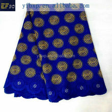 2015 Best selling in nigeria high quality royal blue swiss voile lace with rhinestones for wedding dress in switzerland