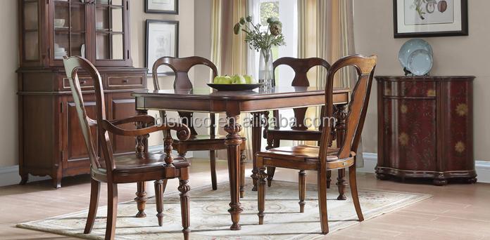 Classique bois sculpt carr table avec des chaises antique style campagnard salle manger - Tafel salle a manger ontwerp ...