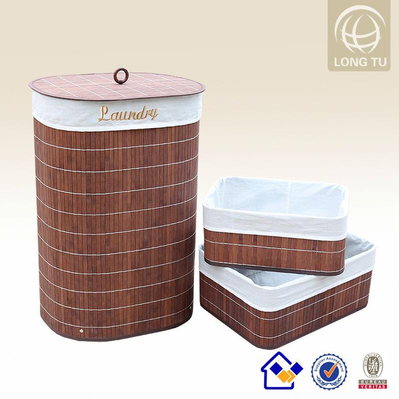 redonda de bambu cesto de roupa suja feita de material reciclado de