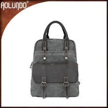 Grey canvas laptop backpack camera bag