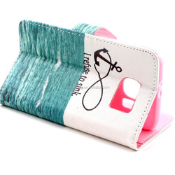 PU Leather Flip Folio Book Style Wallet Protective Skin Pouch Phone Case & Magnetic Closure with Credit/ID Card Slots