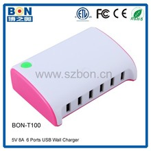 Quick speed tablet international 6 port usb wall charger adapter