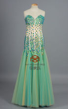 HMY-E002 Real Images Charming Suzhou Luxurious Beaded Sweetheart Inserted Tulle Floor Length Evening Gowns
