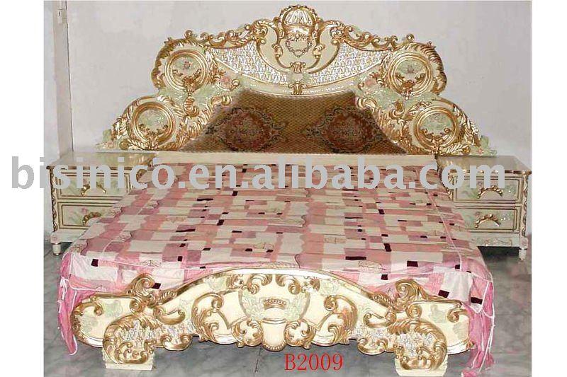 luxury gold color carving wooden bedroom set king