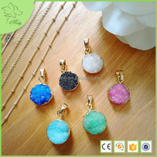 Custom Engravable Gold Metal Plated Round Druzy Charms Jewelry Wholesale