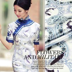 ss101205 Blue and white porcelain Digital Printed silk satin dress fabric