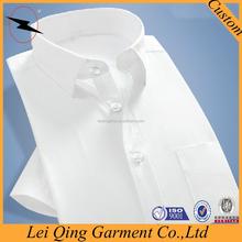 Fashion formal short sleeve white collar white shirt man