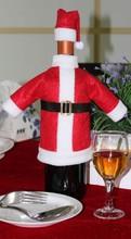 Christmas decoration Santa costume felt wine bottle cover for promotional gift