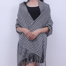 Ladies European classic black and white big Houndstooth Wool Shawl Scarf winter warm dual-purpose long paragraph all-match