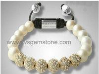 fashion shamballa bracelet,faux pearl,alloy with rhinestone beads