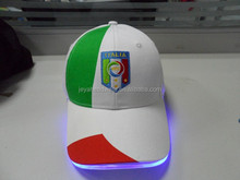 Custom logo with LED light & scarlet/green applique, outstanding embroidery logo fashion baseball cap