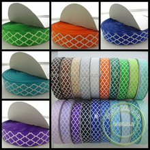 IN STOCK 1'' Quatrefoil Printed Grosgrain Ribbon For Baby Girls Clothing/Shoes/Party Accessories