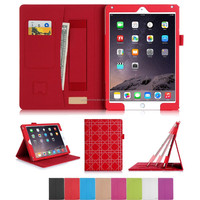 Newly Design Wallet Case Cover with card Slots and Multi-viewing Angles For iPad Air 2 Cover