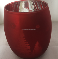 red mercury glass candle holder