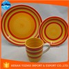 red and yellow circle 12 pcs dinner set, cheap porcelain dinner set