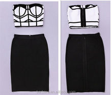 party wear dress for women hot selling black and white clssic 2 piece