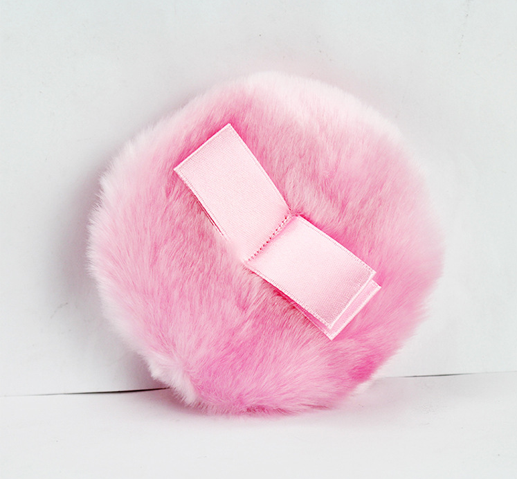 핑크 파우더 퍼프 부드러운 봉제 뷰티 메이크업 퍼프 리본