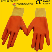 Safety industrial gloves palm rubber coated cotton gloves for construction use