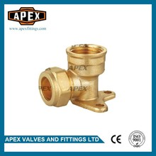 Manufactoring APEX Brass Compression Wall Plated Female Elbow Fitting With Seated Type