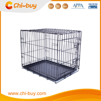 Hot Selling Puppy One Door Folable Pet Cage with Plastic Tray for Dog