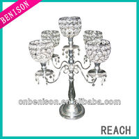 5 arms wedding crystal candelabra on sale for tealight table decoration