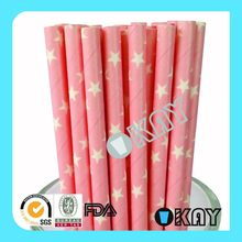 Low Price New Arrival Silver Stars Paper Drinking Straws