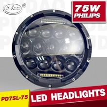 New type high low beam 75w 7 inch led headlight, 7 inch round led headlight, 75w 7 inch round led headlight