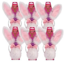 White Bunny Rabbit Ears Set Bow Tie and Tail With Pink Trim party headband QHBD-2113