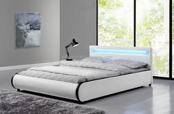 Pillow Design Contrasting Colors Upholstered Headboard LED Bed Frame WSB125-1