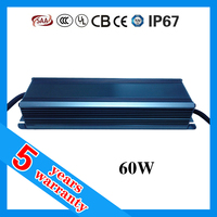 5 year warranty PF 0.98 waterproof IP67 60W constant current LED driver