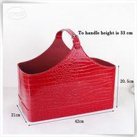 Luxury multifunctional PU leather fruits and wine gift baskets storage box