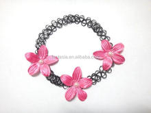 Black tattoo choker necklace with 3 pc flowers w/ pearl for kids