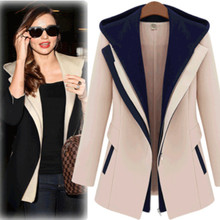 Spring Fashion Slim With Hood Female Coat Hot Slim Hit The Color Stitching Leave Two Small Suit Plus Size Khaki Black