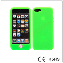 Solid Colors Silicone Protective Case for iPhone 5 with Home Button Bean