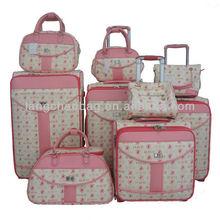 Fashion PU leather elegant women lady bag trolley luggage