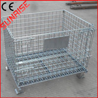 foldable galvanized mental industrial wire mesh container