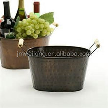 Victoria Decoration Galvanized Metal Oval Tub/Hammered Dots with Wooden handle ice bucket/Flower Planter