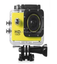 yellow 12MP Full HD 1080P Bicycle Helmet Sports DV Action Waterproof Camera SJ4000 Tags Sticker