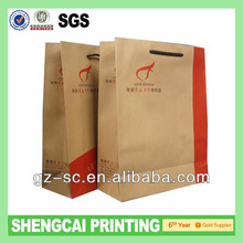 100% recycle brown kraft paper bags grocery bag with PP handle