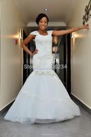 Vestidos De Noiva 2014 Romantic White Organza Lace Beaded Cap Sleeve Trumpet Long Wedding Dresses New Arrival Sexy Bridal Gowns