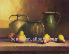 Pure Handmade Clay Water Pot and Fruit Pears Oil Paintings