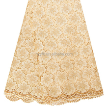 Zhejiang fantasy textiles high quality heavy swiss lorean lace fabric / Flower pattern gold african fabric lace embroided