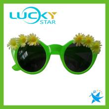 Round green flower tropical party sunglasses free logo printing sunglass