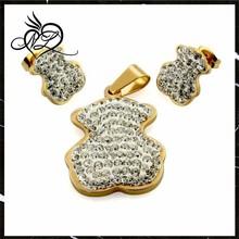 18Kgold bear jewelry set fashion able jewelry rhinestone necklace earring set for women