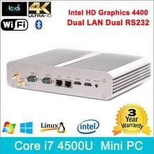 Core i7 remote control pc 300M wifi Dual antennas slim computer fanless intel nuc mini pc for htpc