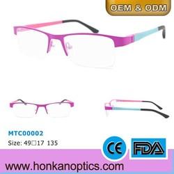 2015 new half-frame stainless steel kids glasses frame