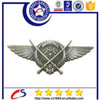 Old fashion wing shape brass badge for military